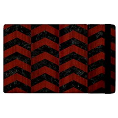Chevron2 Black Marble & Red Wood Apple Ipad 2 Flip Case