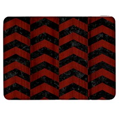Chevron2 Black Marble & Red Wood Samsung Galaxy Tab 7  P1000 Flip Case by trendistuff