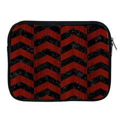 Chevron2 Black Marble & Red Wood Apple Ipad 2/3/4 Zipper Cases by trendistuff