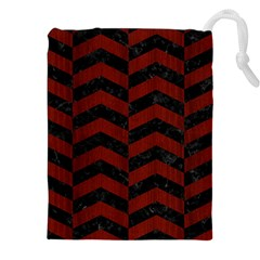 Chevron2 Black Marble & Red Wood Drawstring Pouches (xxl) by trendistuff