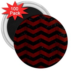 Chevron3 Black Marble & Red Wood 3  Magnets (100 Pack) by trendistuff