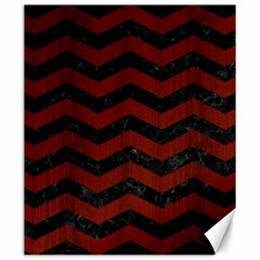 Chevron3 Black Marble & Red Wood Canvas 20  X 24   by trendistuff