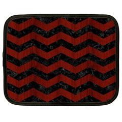 Chevron3 Black Marble & Red Wood Netbook Case (large) by trendistuff
