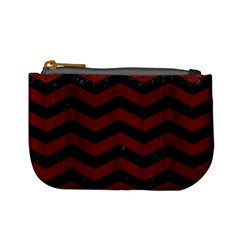 Chevron3 Black Marble & Red Wood Mini Coin Purses by trendistuff