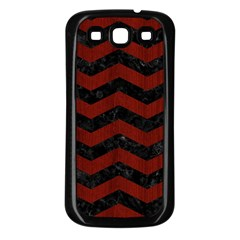 Chevron3 Black Marble & Red Wood Samsung Galaxy S3 Back Case (black) by trendistuff