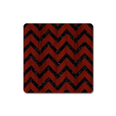 Chevron9 Black Marble & Red Wood Square Magnet by trendistuff