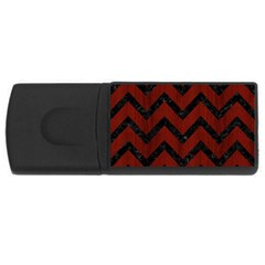 Chevron9 Black Marble & Red Wood Rectangular Usb Flash Drive by trendistuff