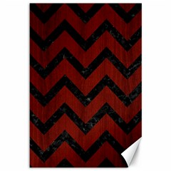 Chevron9 Black Marble & Red Wood Canvas 12  X 18   by trendistuff