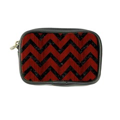 Chevron9 Black Marble & Red Wood Coin Purse by trendistuff