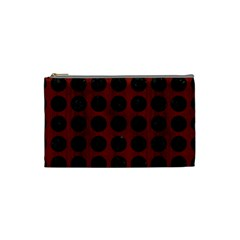 Circles1 Black Marble & Red Wood Cosmetic Bag (small)  by trendistuff