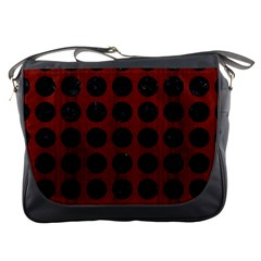 Circles1 Black Marble & Red Wood Messenger Bags by trendistuff