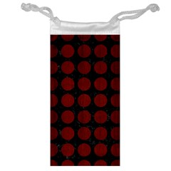 Circles1 Black Marble & Red Wood (r) Jewelry Bag by trendistuff