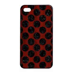 Circles2 Black Marble & Red Wood Apple Iphone 4/4s Seamless Case (black) by trendistuff