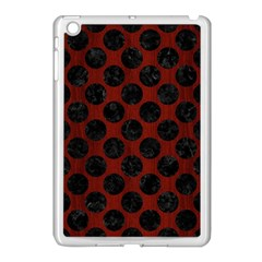 Circles2 Black Marble & Red Wood Apple Ipad Mini Case (white) by trendistuff