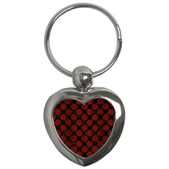 Circles2 Black Marble & Red Wood (r) Key Chains (heart)  by trendistuff