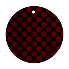 Circles2 Black Marble & Red Wood (r) Round Ornament (two Sides) by trendistuff
