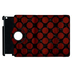 Circles2 Black Marble & Red Wood (r) Apple Ipad 2 Flip 360 Case by trendistuff