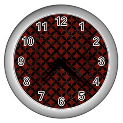 Circles3 Black Marble & Red Wood Wall Clocks (silver)  by trendistuff