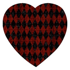 Diamond1 Black Marble & Red Wood Jigsaw Puzzle (heart) by trendistuff