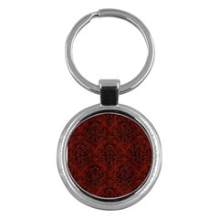 Damask1 Black Marble & Red Wood Key Chains (round)  by trendistuff