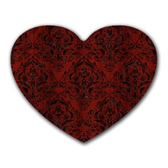 Damask1 Black Marble & Red Wood Heart Mousepads