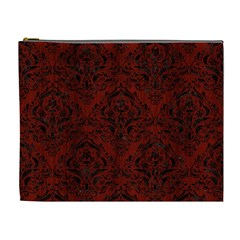 Damask1 Black Marble & Red Wood Cosmetic Bag (xl) by trendistuff