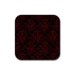 Damask1 Black Marble & Red Wood (r) Rubber Square Coaster (4 Pack)  by trendistuff