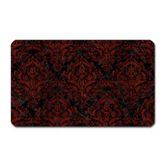Damask1 Black Marble & Red Wood (r) Magnet (rectangular) by trendistuff