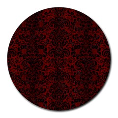 Damask2 Black Marble & Red Wood Round Mousepads by trendistuff