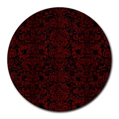 Damask2 Black Marble & Red Wood (r) Round Mousepads by trendistuff