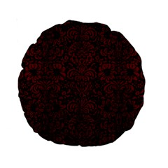 Damask2 Black Marble & Red Wood (r) Standard 15  Premium Round Cushions by trendistuff