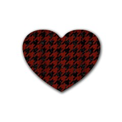 Houndstooth1 Black Marble & Red Wood Heart Coaster (4 Pack)  by trendistuff