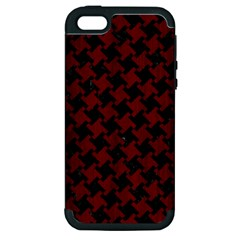 Houndstooth2 Black Marble & Red Wood Apple Iphone 5 Hardshell Case (pc+silicone) by trendistuff