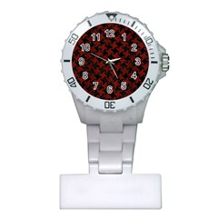 Houndstooth2 Black Marble & Red Wood Plastic Nurses Watch by trendistuff