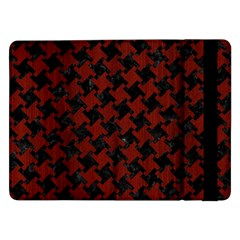 Houndstooth2 Black Marble & Red Wood Samsung Galaxy Tab Pro 12 2  Flip Case by trendistuff