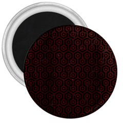 Hexagon1 Black Marble & Red Wood (r) 3  Magnets by trendistuff