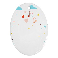 Music Cloud Heart Love Valentine Star Polka Dots Rainbow Mask Sky Ornament (oval)