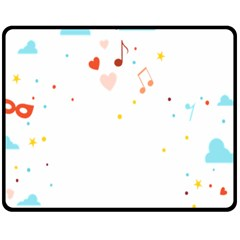 Music Cloud Heart Love Valentine Star Polka Dots Rainbow Mask Sky Fleece Blanket (medium)  by Alisyart