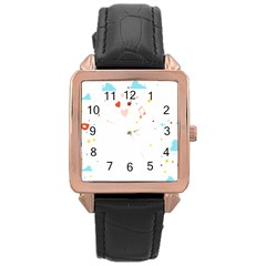 Music Cloud Heart Love Valentine Star Polka Dots Rainbow Mask Sky Rose Gold Leather Watch