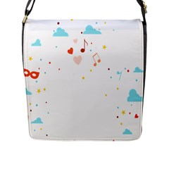 Music Cloud Heart Love Valentine Star Polka Dots Rainbow Mask Sky Flap Messenger Bag (l)