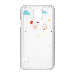 Music Cloud Heart Love Valentine Star Polka Dots Rainbow Mask Sky Samsung Galaxy S5 Case (white)