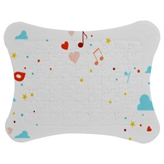 Music Cloud Heart Love Valentine Star Polka Dots Rainbow Mask Sky Jigsaw Puzzle Photo Stand (bow)
