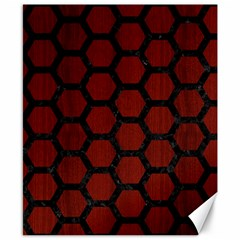 Hexagon2 Black Marble & Red Wood Canvas 8  X 10  by trendistuff