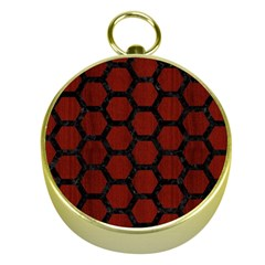 Hexagon2 Black Marble & Red Wood Gold Compasses by trendistuff