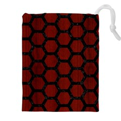 Hexagon2 Black Marble & Red Wood Drawstring Pouches (xxl) by trendistuff