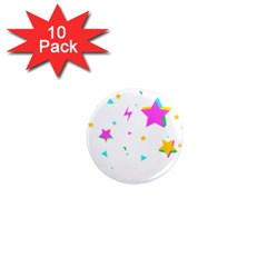 Star Triangle Space Rainbow 1  Mini Magnet (10 Pack)