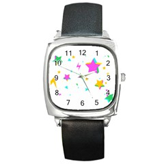Star Triangle Space Rainbow Square Metal Watch by Alisyart