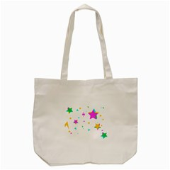 Star Triangle Space Rainbow Tote Bag (cream) by Alisyart