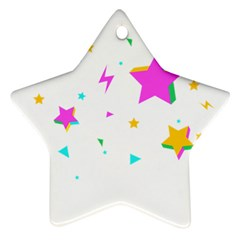 Star Triangle Space Rainbow Star Ornament (two Sides) by Alisyart