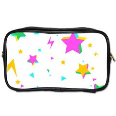 Star Triangle Space Rainbow Toiletries Bags 2 Side by Alisyart